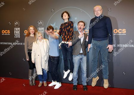 (l-r) French Actors Sarah Stern Isabelle Nanty Pierre Lottin Theo Fernandez Jean Paul Rouve and Olivier Baroux Attend the Opening Ceremony of the 19th Annual International Comedy Film Festival in L'alpe D'huez France 13 January 2016 the Festival Runs From 13 to 17 January France Alpe D'huez