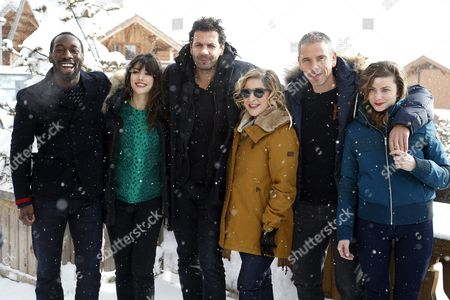 Stock Photo of (l-r) French Actors Cyril Guei Vanessa Guide Mehdi Nebbou French Actress and Producer Marilou Berry French Actors Medi Sadoun and Sarah Suco Pose During the Photocall For 'Josephine S'arrondit' at the 19th Annual International Comedy Film Festival in L'alpe D'huez France 16 January 2016 the Festival Runs From 13 to 17 January France Alpe D'huez
