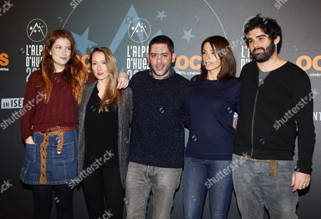 (l-r) French Actors Joe Bel Audrey Lamy Manu Payet Aure Atika and French Producer Cyril Gelblat Attend the 19th Annual International Comedy Film Festival in L'alpe D'huez France 15 January 2016 the Festival Runs From 13 to 17 January France Alpe D'huez