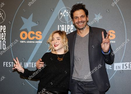 French Actress and Producer Marilou Berry (l) and French Actor Mehdi Nebbou (r) Attend the 19th Annual International Comedy Film Festival in L'alpe D'huez France 15 January 2016 the Festival Runs From 13 to 17 January France Alpe D'huez