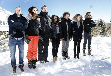 (l-r) French Actors Julien Arruti Charlotte Gabris Vincent Desagnat Alice David Nicolas Benamou Elodie Fontan and Philippe Lacheau Pose During the Photocall For 'Babysitting 2' at the 19th Annual International Comedy Film Festival in L'alpe D'huez France 15 January 2016 the Festival Runs From 13 to 17 January France Alpe D'huez