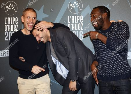 French Actors Medi Sadoun (l) Mehdi Nebbou (c) and Cyril Guei (r) Attend the 19th Annual International Comedy Film Festival in L'alpe D'huez France 15 January 2016 the Festival Runs From 13 to 17 January France Alpe D'huez