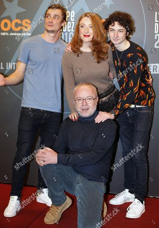 (l-r) French Actors Pierre Lottin Sarah Stern Theo Fernandez and Olivier Baroux Attend the Opening Ceremony of the 19th Annual International Comedy Film Festival in L'alpe D'huez France 13 January 2016 the Festival Runs From 13 to 17 January France Alpe D'huez