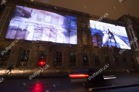 The Projection Entitled 'Drawing Restraint 15' by Matthew Barney is Displayed As Part of the Nuit Blanche Art Festival in Paris France 30 September 2016 the Annual All-night Arts Festival Nuit Blanche Takes Place on 01 October France Paris