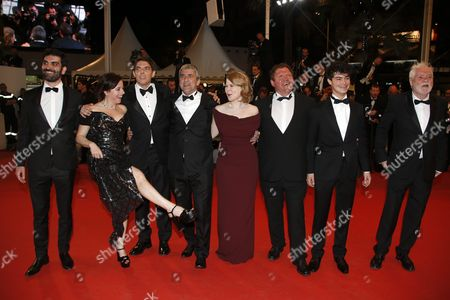 Stock Photo of (l-r) French Actor Sebastien Novac French Actress Laura Calamy French Actor Damien Bonnard French Director Alain Guiraudie French Actress India Hair French Actor Raphael Thiery French Actor Basile Meilleurat and French Actor Christian Bouillette Arrive For the Screening of 'Rester Vertical' (staying Vertical) During the 69th Annual Cannes Film Festival in Cannes France 12 May 2016 the Movie is Presented in the Official Competition of the Festival Which Runs From 11 to 22 May France Cannes