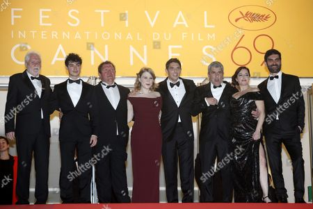 (l-r) French Actor Christian Bouillette French Actor Basile Meilleurat French Actor Raphael Thiery French Actress India Hair French Actor Damien Bonnard French Director Alain Guiraudie French Actress Laura Calamy and French Actor Sebastien Novac Arrive For the Screening of 'Rester Vertical' (staying Vertical) During the 69th Annual Cannes Film Festival in Cannes France 12 May 2016 the Movie is Presented in the Official Competition of the Festival Which Runs From 11 to 22 May France Cannes