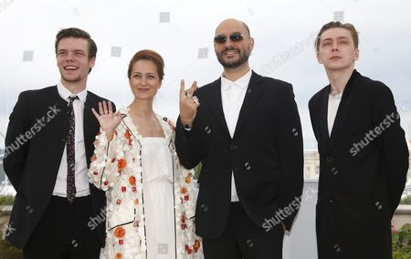 Stock Picture of (l-r) Russian Actor Petr Skvortsov Russian Actress Victoria Isakova Russian Director Kirill Serebrennikov and Russian Actor Alexandr Gorchilin Pose During the Photocall For 'Uchenik' (the Student) at the 69th Annual Cannes Film Festival in Cannes France 13 May 2016 the Movie is Presented in the Section Un Certain Regard of the Festival Which Runs From 11 to 22 May France Cannes