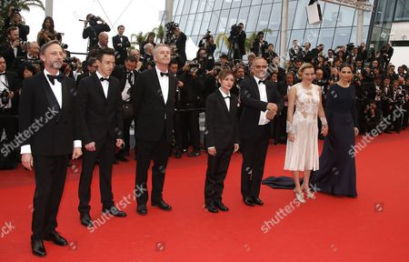 (l-r) French Actor Jean-luc Vincent French Actor Brandon Lavieville French Director Bruno Dumont French Actress Raph French Actor Fabrice Luchini French Italian Actress Valeria Bruni-tedeschi and French Actress Juliette Binoche Arrive For the Screening of 'Ma Loute' (slack Bay) During the 69th Annual Cannes Film Festival in Cannes France 13 May 2016 the Movie is Presented in the Official Competition of the Festival Which Runs From 11 to 22 May France Cannes