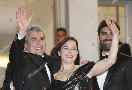 (l-r) French Director Alain Guiraudie French Actress Laura Calamy and French Actor Sebastien Novac Arrive For the Screening of 'Rester Vertical' (staying Vertical) During the 69th Annual Cannes Film Festival in Cannes France 12 May 2016 the Movie is Presented in the Official Competition of the Festival Which Runs From 11 to 22 May France Cannes