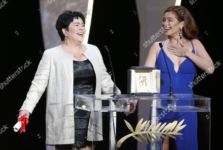 Philippino Actress Jaclyn Jose (l) Receives the Best Performance by an Actress Award For 'Ma'rosa' As Philippino Actress Andi Eigenmann (r) Looks on During the Closing Award Ceremony of the 69th Cannes Film Festival in Cannes France 22 May 2016 For the First Time in the Festival History the Golden Palm Winning Movie Will Be Screened at the Closing Ceremony France Cannes