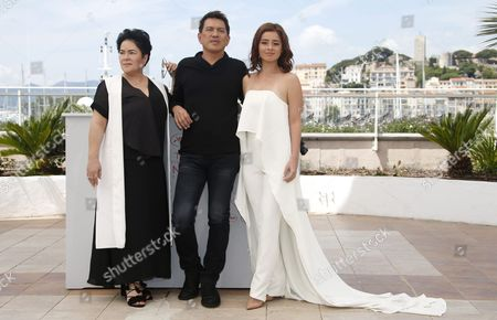 Philippino Actress Andi Eigenmann (r) Philippino Director Brillante Mendoza (c) and Philippino Actress Jaclyn Jose (l) Pose During the Photocall For 'Ma'rosa' at the 69th Annual Cannes Film Festival in Cannes France 18 May 2016 the Movie is Presented in the Official Competition of the Festival Which Runs From 11 to 22 May France Cannes