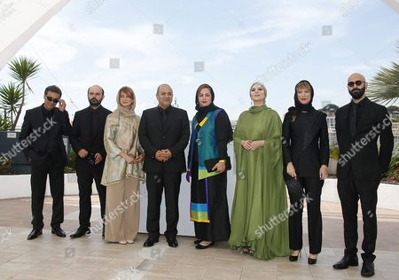 Stock Photo of Iranian Actor Ali Mosaffa (2-l) Iranian Director Behnam Behzadi (4-l) Iranian Actress Sahar Dolatshahi (3-r) and Guests Pose During the Photocall For 'Varoonegi' (inversion) at the 69th Annual Cannes Film Festival in Cannes France 18 May 2016 the Movie is Presented in the Section Un Certain Regard of the Festival Which Runs From 11 to 22 May France Cannes