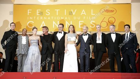(l-r) Producer Matt Palmieri Us Actor Zubin Cooper Dylan Frances Penn Us Director Sean Penn French Actor Jean Reno French Actress Adele Exarchopoulos Hopper Penn South African Actress Charlize Theron British Actor Jared Harris and Spanish Actor Javier Bardem Arrive For the Screening of 'The Last Face' During the 69th Annual Cannes Film Festival in Cannes France 20 May 2016 the Movie is Presented in the Official Competition of the Festival Which Runs From 11 to 22 May France Cannes