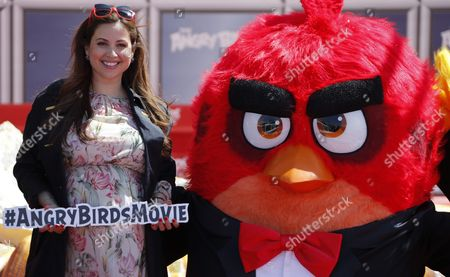 Lebanese Actress Raya Abirached Poses with Red Bird Character During the Photocall For 'The Angry Birds Movie' on the Eve of the Opening of the 69th Annual Cannes Film Festival in Cannes France 10 May 2016 the Festival Runs From 11 to 22 May France Cannes