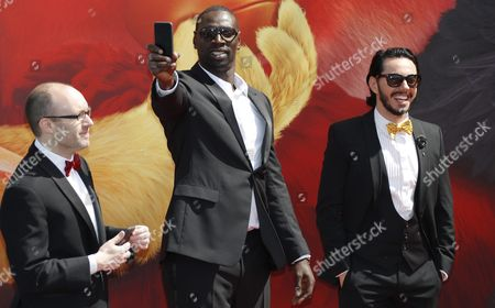 (l-r) Producer John Cohen French Actor Omar Sy and Russian Actor Timur Rodriguez Pose During the Photocall For 'The Angry Birds Movie' on the Eve of the Opening of the 69th Annual Cannes Film Festival in Cannes France 10 May 2016 the Festival Runs From 11 to 22 May France Cannes