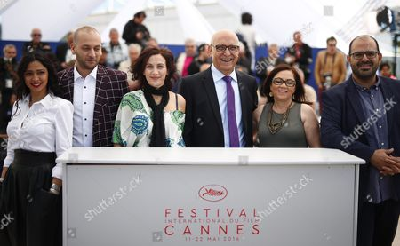 (l-r) Israeli Actress Maisa Abd Elhadi Israeli Actor Doraid Liddawi Israeli Director Maha Haj Israeli Actor Mahmoud Shawahdeh Israeli Actor Sana Shawahdeh and Israeli Actor Amer Hlehel Pose During the Photocall For 'Omor Shakhsiya' (personal Affairs) at the 69th Annual Cannes Film Festival in Cannes France 12 May 2016 the Movie is Presented in the Section Un Certain Regard of the Festival Which Runs From 11 to 22 May France Cannes