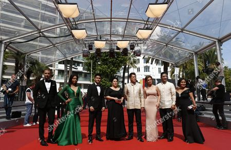 Stock Photo of (l-r) Filipino Screenwriter Troy Espiritu Filipino Actress Maria Isabel Lopez Filipino Actor Jomari Angeles Filipino Actress Jaclyn Jose Filipino Director Brillante Mendoza Filipino Actress Andi Eigenmann Filipino Actor Neil Ryan P Sese and Filipino Actress Ruby Ruiz Arrive For the Screening of 'Ma'rosa' During the 69th Annual Cannes Film Festival in Cannes France 18 May 2016 the Movie is Presented in the Official Competition of the Festival Which Runs From 11 to 22 May France Cannes