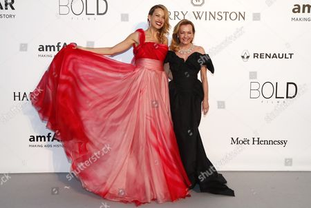 Czech Model Petra Nemcova (l) and Co-president of Chopard Caroline Gruosi Scheufele (r) Attend the Cinema Against Aids Amfar Gala 2016 Held at the Hotel Du Cap Eden Roc in Cap D'antibes France 19 May 2016 Within the Scope of the 69th Annual Cannes Film Festival That Runs From 11 to 22 May France Cannes
