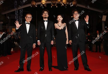 (l-r) Japanese Actor Kunimura Jun South Korean Director Na Hong-jin South Korean Actress Chun Woo Hee and South Korean Actor Kwak Do Won Arrive For the Screening of 'Goksung' (the Strangers) During the 69th Annual Cannes Film Festival in Cannes France 18 May 2016 the Movie is Presented out of Competition at the Festival Which Runs From 11 to 22 May France Cannes