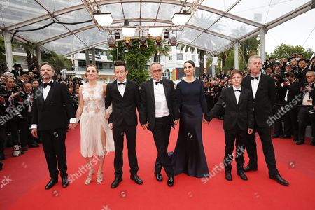 (l-r) French Actor Jean-luc Vincent French Italian Actress Valeria Bruni-tedeschi French Actor Brandon Lavieville French Actor Fabrice Luchini French Actress Juliette Binoche French Actress Raph and French Director Bruno Dumont Arrive For the Screening of 'Ma Loute' (slack Bay) During the 69th Annual Cannes Film Festival in Cannes France 13 May 2016 the Movie is Presented in the Official Competition of the Festival Which Runs From 11 to 22 May France Cannes