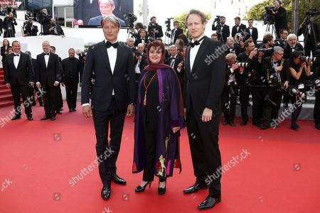 (l-r) Jury Members Danish Actor Mads Mikkelsen Iranian Producer Katayoon Shahabi and Hungarian Director Laszlo Nemes Arrive For the Screening of 'Loving' During the 69th Annual Cannes Film Festival in Cannes France 16 May 2016 the Movie is Presented in the Official Competition of the Festival Which Runs From 11 to 22 May France Cannes