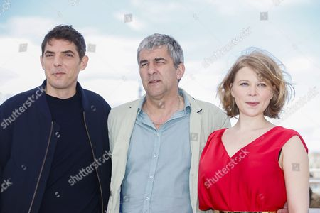 (l-r) French Actor Damien Bonnard French Director Alain Guiraudie and French Actress India Hair Pose During the Photocall For 'Rester Vertical' (staying Vertical) at the 69th Annual Cannes Film Festival in Cannes France 12 May 2016 the Movie is Presented in the Official Competition of the Festival Which Runs From 11 to 22 May France Cannes