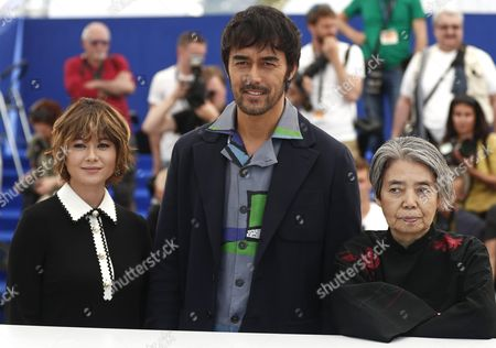Stock Picture of (l-r) Japanese Actress Maki Yoko Japanese Actor Abe Hiroshi and Japanese Actress Kilin Kiki Pose During the Photocall For 'Umi Yorimo Mada Fukaku' (after the Storm) at the 69th Annual Cannes Film Festival in Cannes France 18 May 2016 the Movie is Presented in the Section Un Certain Regard of the Festival Which Runs From 11 to 22 May France Cannes
