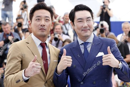 South-korean Actor Ha Jung-woo (l) and South-korean Actor Jo Jing-woong (r) Pose During the Photocall For 'Mademoiselle' (the Handmaiden) at the 69th Annual Cannes Film Festival in Cannes France 14 May 2016 the Movie is Presented in the Official Competition of the Festival Which Runs From 11 to 22 May France Cannes