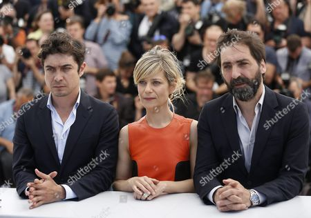 (l-r) Italian Actor Riccardo Scamarcio French Actress Marina Fois and Italian Director Stefano Mordini Pose During the Photocall For 'Pericle Il Nero' (pericle) at the 69th Annual Cannes Film Festival in Cannes France 19 May 2016 the Movie is Presented in the Section Un Certain Regard of the Festival Which Runs From 11 to 22 May France Cannes