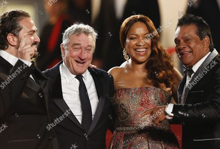 (l-r) Venezuelan Director Jonathan Jakubowicz Us Actor Robert De Niro Grace Hightower De Niro and Panamanian Boxer Roberto Duran Arrive For the Screening of 'Hands of Stone' During the 69th Annual Cannes Film Festival in Cannes France 16 May 2016 the Movie is Presented out of Competition at the Festival Which Runs From 11 to 22 May France Cannes