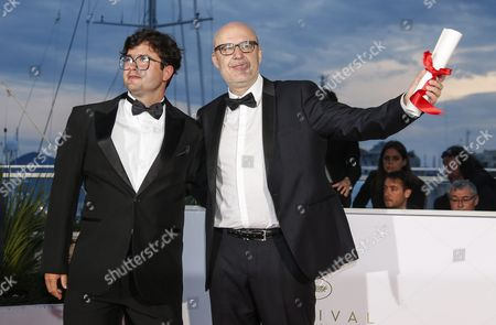 Spanish Director Juanjo Gimenez (r) Poses with Brazilian Director Joao Paulo Miranda Maria (l) After He Won the Best Short Film Award For 'Timecode' During the Award Winners Photocall at the 69th Annual Cannes Film Festival in Cannes France 22 May 2016 France Cannes
