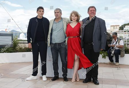 (l-r) French Actor Damien Bonnard French Director Alain Guiraudie French Actress India Hair and French Actor Raphael Thiery Pose During the Photocall For 'Rester Vertical' (staying Vertical) at the 69th Annual Cannes Film Festival in Cannes France 12 May 2016 the Movie is Presented in the Official Competition of the Festival Which Runs From 11 to 22 May France Cannes