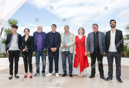 Stock Image of (l-r) French Actor Basile Meilleurat French Actress Laura Calamy French Actor Christian Bouillette French Actor Damien Bonnard French Director Alain Guiraudie French Actress India Hair French Actor Raphael Thiery and French Actor Sebastien Novac Pose During the Photocall For 'Rester Vertical' (staying Vertical) at the 69th Annual Cannes Film Festival in Cannes France 12 May 2016 the Movie is Presented in the Official Competition of the Festival Which Runs From 11 to 22 May France Cannes