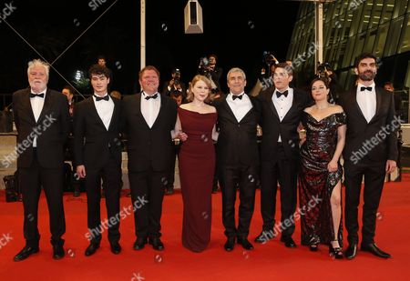 Stock Photo of (l-r) French Actor Christian Bouillette French Actor Basile Meilleurat French Actor Raphael Thiery French Actress India Hair French Director Alain Guiraudie French Actor Damien Bonnard French Actress Laura Calamy and French Actor Sebastien Novac Arrive For the Screening of 'Rester Vertical' (staying Vertical) During the 69th Annual Cannes Film Festival in Cannes France 12 May 2016 the Movie is Presented in the Official Competition of the Festival Which Runs From 11 to 22 May France Cannes