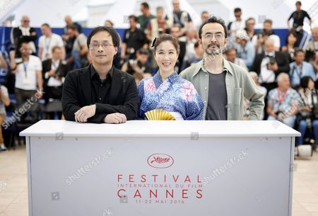 (l-r) Japanese Director Koji Fukada Japanese Actress Tsutsui Mariko and Japanese Actor Kanji Furutachi Pose During the Photocall For 'Fuchi Ni Tatsu' (harmonium) at the 69th Annual Cannes Film Festival in Cannes France 14 May 2016 the Movie is Presented in the Section Un Certain Regard of the Festival Which Runs From 11 to 22 May France Cannes