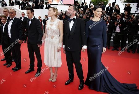 (l-r) French Director Bruno Dumont French Actress Raph French Actor Fabrice Luchini French Actor Brandon Lavieville French Italian Actress Valeria Bruni-tedeschi French Actor Jean-luc Vincent and French Actress Juliette Binoche Arrive For the Screening of 'Ma Loute' (slack Bay) During the 69th Annual Cannes Film Festival in Cannes France 13 May 2016 the Movie is Presented in the Official Competition of the Festival Which Runs From 11 to 22 May France Cannes