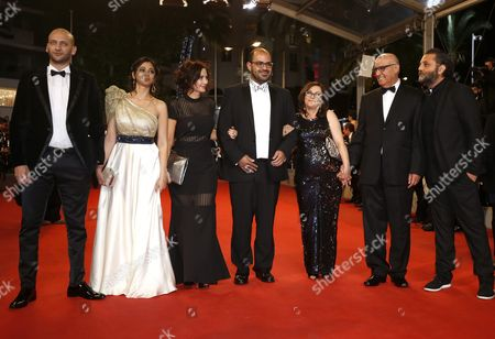 Stock Picture of (l-r) Israeli Actor Doraid Liddawi Israeli Actress Maisa Abd Elhadi Israeli Director Maha Haj Israeli Actor Amer Hlehel Israeli Actress Sana Shawahdeh Israeli Actor Mahmoud Shawahdeh and Guest Arrive For the Screening of 'Rester Vertical' (staying Vertical) During the 69th Annual Cannes Film Festival in Cannes France 12 May 2016 the Movie is Presented in the Official Competition of the Festival Which Runs From 11 to 22 May France Cannes