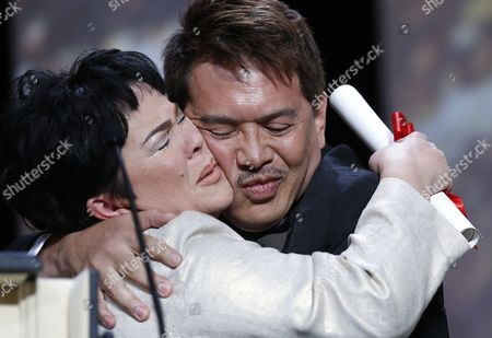 Philippino Actress Jaclyn Jose (l) Hugs Philippino Director Brillante Mendoza (r) After Receiving the Best Performance by an Actress Award For 'Ma'rosa' During the Closing Award Ceremony of the 69th Cannes Film Festival in Cannes France 22 May 2016 For the First Time in the Festival History the Golden Palm Winning Movie Will Be Screened at the Closing Ceremony France Cannes
