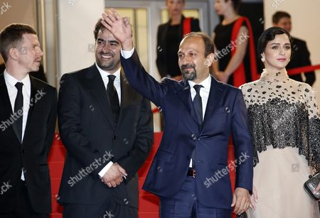 (l-r) French Producer Alexandre Mallet-guy Iranian Actor Shahab Hosseini Iranian Director Ashgar Farhadi and Iranian Actress Taraneh Alidoosti Arrive For the Screening of 'Forushande' (the Salesman) During the 69th Annual Cannes Film Festival in Cannes France 21 May 2016 the Movie is Presented in the Official Competition of the Festival Which Runs From 11 to 22 May France Cannes