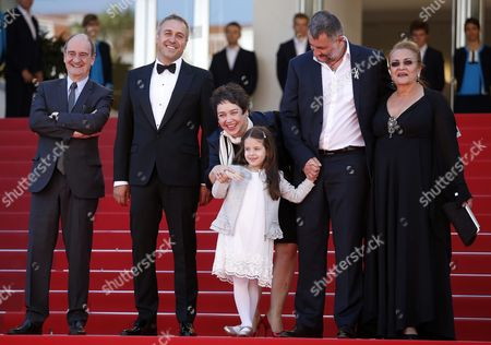 Stock Photo of (l-r) Cannes Festival President Pierre Lescure Romanian Actor Mimi Branescu Romanian Producer Anca Puiu Romanian Actress Zoe Puiu Romanian Director Cristi Puiu and Romanian Actress Dana Dogaru Arrive For the Screening of 'Sieranevada' During the 69th Annual Cannes Film Festival in Cannes France 12 May 2016 the Movie is Presented in the Official Competition of the Festival Which Runs From 11 to 22 May France Cannes