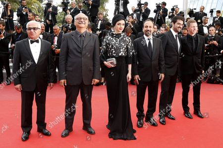 (l-r) Iranian Actor Farid Sajjadihosseini Iranian Actor Babak Karimi Iranian Actress Taraneh Alidoosti Iranian Director Ashgar Farhadi Iranian Actor Shahab Hosseini and French Producer Alexandre Mallet-guy Arrive For the Closing Awards Ceremony of the 69th Annual Cannes Film Festival in Cannes France 22 May 2016 For the First Time in the Festival History the Golden Palm Winning Movie Will Be Screened at the Closing Ceremony France Cannes