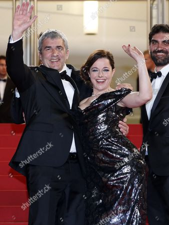 Stock Picture of (l-r) French Director Alain Guiraudie and French Actress Laura Calamy Arrive For the Screening of 'Rester Vertical' (staying Vertical) During the 69th Annual Cannes Film Festival in Cannes France 12 May 2016 the Movie is Presented in the Official Competition of the Festival Which Runs From 11 to 22 May France Cannes