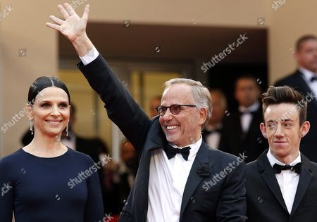 (l-r) French Actress Juliette Binoche French Actor Fabrice Luchini and French Actor Brandon Lavieville Arrive For the Screening of 'Ma Loute' (slack Bay) During the 69th Annual Cannes Film Festival in Cannes France 13 May 2016 the Movie is Presented in the Official Competition of the Festival Which Runs From 11 to 22 May France Cannes