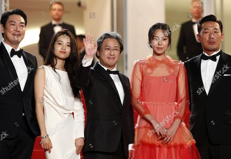 (l-r) South-korean Actor Jo Jing-woong South-korean Actress Kim Tae-ri South-korean Director Park-chan-wook South-korean Actress Kim Min-hee and South-korean Actor Ha Jung-woo Arrive For the Screening of 'Mademoiselle' (the Handmaiden) During the 69th Annual Cannes Film Festival in Cannes France 14 May 2016 the Movie is Presented in the Official Competition of the Festival Which Runs From 11 to 22 May France Cannes