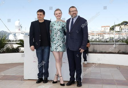 (l-r) Romanian Director Cristian Mungiu Romanian Actress Maria Dragus and Romanian Actor Adrian Titieni Pose During the Photocall For 'Bacalaureat' at the 69th Annual Cannes Film Festival in Cannes France 19 May 2016 the Movie is Presented in the Official Competition of the Festival Which Runs From 11 to 22 May France Cannes