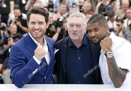 (l-r) Venezuelan Actor Edgar Ramirez Us Actor Robert De Niro and Us Actor and Singer Usher Raymond Iv Pose During the Photocall For 'Hands of Stone' at the 69th Annual Cannes Film Festival in Cannes France 16 May 2016 the Movie is Presented out of Competition at the Festival Which Runs From 11 to 22 May France Cannes