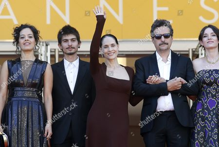(l-r) Brazilian Actress Maeve Jinkings Brazilian Actor Pedro Queiroz Brazilian Actress Sonia Braga Brazilian Director Kleber Mendonca Filho and Producer Emilie Lesclaux Arrive For the Screening of 'Aquarius' During the 69th Annual Cannes Film Festival in Cannes France 17 May 2016 the Movie is Presented in the Official Competition of the Festival Which Runs From 11 to 22 May France Cannes