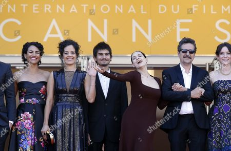 (l-r) Actress Barbara Colen Brazilian Actress Maeve Jinkings Brazilian Actor Pedro Queiroz Brazilian Actress Sonia Braga Brazilian Director Kleber Mendonca Filho and Producer Emilie Lesclaux Arrive For the Screening of 'Aquarius' During the 69th Annual Cannes Film Festival in Cannes France 17 May 2016 the Movie is Presented in the Official Competition of the Festival Which Runs From 11 to 22 May France Cannes