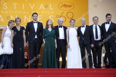 (l-r) French Actress Anne Consigny Belgian Actress Virginie Efira French Actor Jonas Bloquet French Actress Isabelle Huppert Dutch Director Paul Verhoeven French Actress Alice Isaaz German Actor Christian Berkel French Actor Charles Berling and French Actor Laurent Lafitte Arrive For the Screening of 'Elle' During the 69th Annual Cannes Film Festival in Cannes France 21 May 2016 the Movie is Presented in the Official Competition of the Festival Which Runs From 11 to 22 May France Cannes