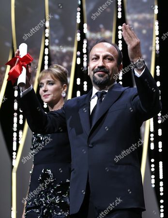 Stock Picture of Iranian Director Ashgar Farhadi Receives the Best Screenplay Award For His Movie 'Forushande' (the Salesman) During the Closing Award Ceremony of the 69th Cannes Film Festival in Cannes France 22 May 2016 For the First Time in the Festival History the Golden Palm Winning Movie Will Be Screened at the Closing Ceremony France Cannes